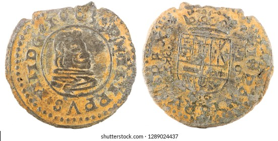 Ancient Spanish copper coin of King Felipe IV. 1663. Coined in Trujillo. 16 Maravedis.