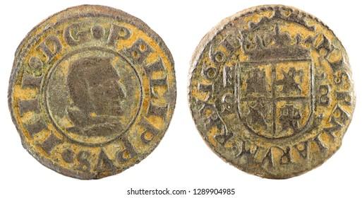 Ancient Spanish copper coin of King Felipe IV. 1661. Coined in Segovia. 8 Maravedis.