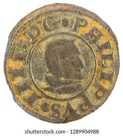 Ancient Spanish copper coin of King Felipe IV. 1661. Coined in Segovia. 8 Maravedis. Obverse.