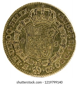 Ancient Spanish gold coin of King Carlos III. With a value of 4 escudos and minted in Sevilla. 1773. Reverse.