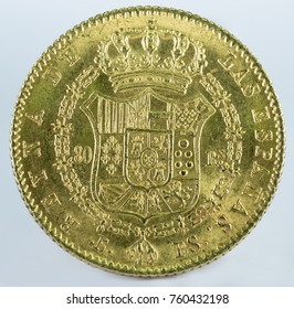 Ancient Spanish gold coin of Queen Isabel II. With a value of 80 reales and minted in Barcelona. 1844. Reverse.