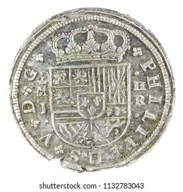 Ancient Spanish silver coin of the King Felipe V. 1717. Coined in Madrid. 2 reales. Obverse.