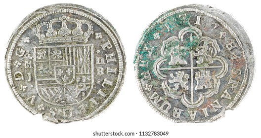 Ancient Spanish silver coin of the King Felipe V. 1717. Coined in Madrid. 2 reales.