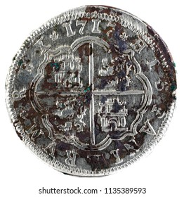Ancient Spanish silver coin of the King Felipe V. 1717. Coined in Segovia. 2 reales. Reverse.