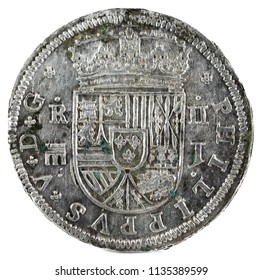 Ancient Spanish silver coin of the King Felipe V. 1717. Coined in Segovia. 2 reales. Obverse.