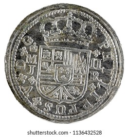 Ancient Spanish silver coin of the King Felipe V. 1716. Coined in Madrid. 2 reales. Obverse.