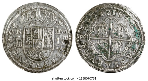 Ancient Spanish silver coin of the King Felipe V. 1718. Coined in Segovia. 2 reales.