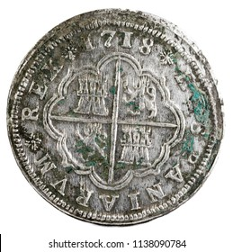 Ancient Spanish silver coin of the King Felipe V. 1718. Coined in Segovia. 2 reales. Reverse.