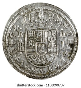 Ancient Spanish silver coin of the King Felipe V. 1718. Coined in Segovia. 2 reales. Obverse.