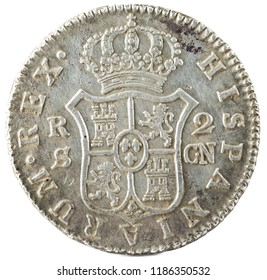 Ancient Spanish silver coin of the King Carlos IV. 1808. Coined in Sevilla. 2 reales. Reverse.
