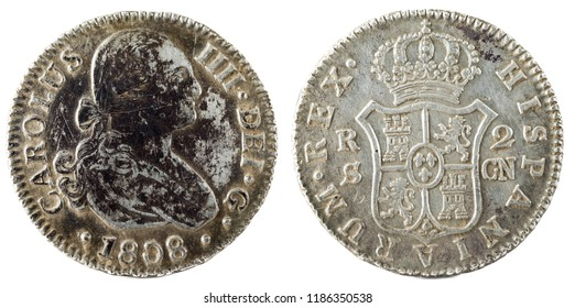 Ancient Spanish silver coin of the King Carlos IV. 1808. Coined in Sevilla. 2 reales.