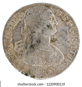 Ancient Spanish silver coin of the King Carlos IV. 1792. Coined in Mexico. 8 Reales. Obverse.
