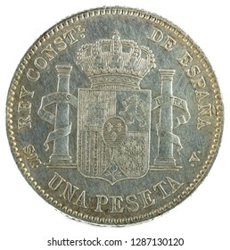 Ancient Spanish silver coin of the King Alfonso XIII. 1 peseta. 1903, 19 03 in the stars. Reverse.