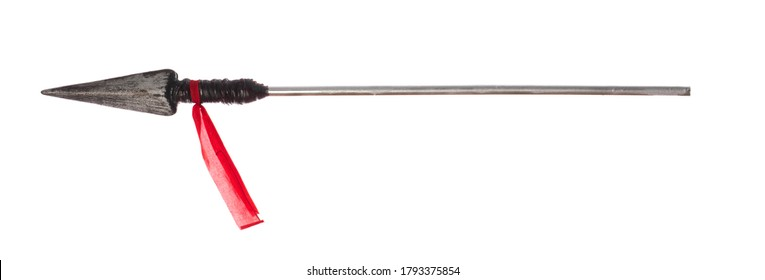 ancient spear isolated on white background