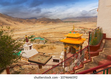 Ancient spitok monastery with view of Himalayan mountians outside - it is a famous Buddhist temple in Leh, Ladakh, Jammu and Kashmir, India.