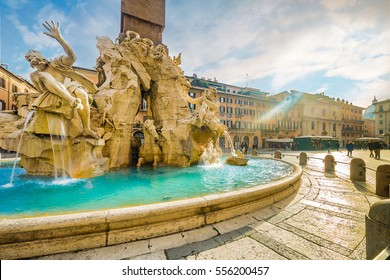 Ancient square in Rome, Italy in winter