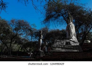 Ancient Sririt Buddha statue in Ayuthaya  the destination to visiting Thailand.