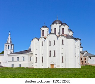 Ancient St. Nicolas Cathedral at on the Yaroslav's court in Veliky Novgorod, Russia