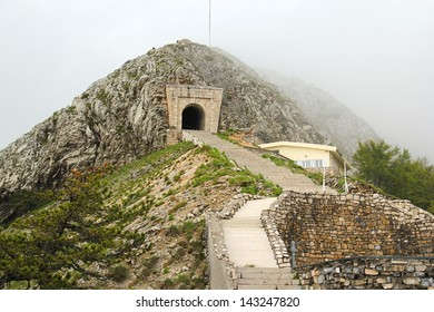 Ancient stairs and tunnel on the Lovcen mountain in Montenegro