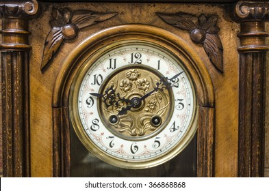 Ancient Standing Grandfather Wooden Clock