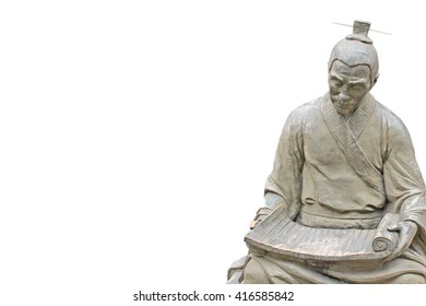 An ancient statue of Confucius.Confucius is the ancient Chinese thinker, educator.