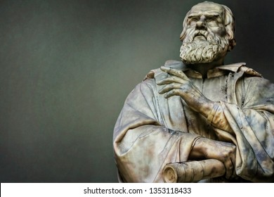 Ancient statue of Galileo Galilei in Florence, Italy