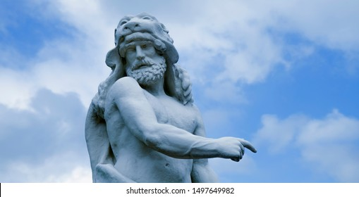 Ancient statue of Hercules (Heracles) is a Roman hero and god. He was the son of Zeus (Jupiter) and the mortal Alcmene.
