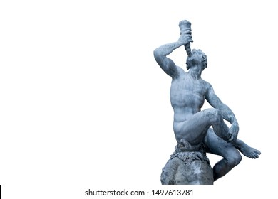 Ancient statue isolated on white background - a man drinking from the horn of plenty (cornucopia) as symbol of wealth wealth and prosperity