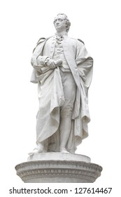 Ancient statue of Johann Wolfgang von Goethe in Berlin, isolated on white, clipping path included
