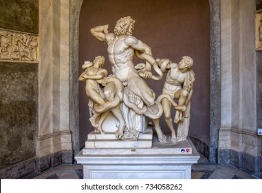 Ancient statue of Laocoon and his Sons in Vatican, Italy