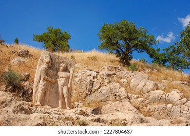 Ancient statue at Nemrut dagi in Turkey. The UNESCO World Heritage Site of Mount Nemrut is where King Antiochus is reputedly entombed.