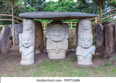 Ancient statues in archeological park in San Agustin, Colombia