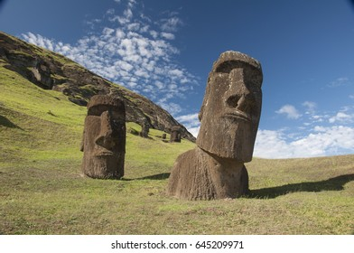 Ancient statues in the quarry, Eastern Island