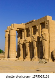Ancient statues in the Ramesseum Temple in Luxor, Egypt