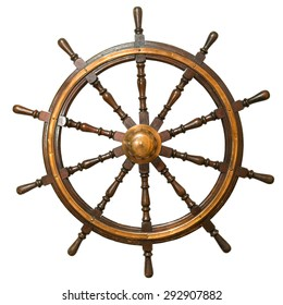 Ancient steering wheel from the sailing vessel on isolated white background