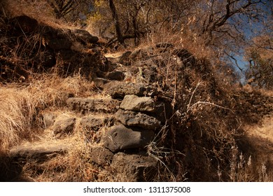 Ancient steps of year 1153 in terrace of pyramid buried in the chasm the hill of the speaker in a state of Mexico