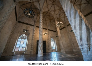 Ancient stock exchange, Valencia, Spain. Interior of antique building. Silk exchange, indoor. 05 of November 2017.