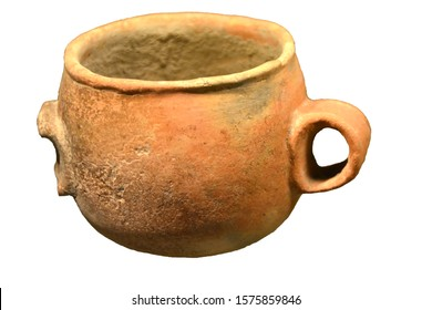 An Ancient Stone Age two-handled bowl from 6,000 years ago, found in Sicily. Isolated against a white background
