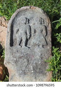Ancient stone artefact at the ruins of Shettihalli Rosary Church, Hassan, Karnataka, India which built by French missionaries in 1860s in scenic waterside spot.