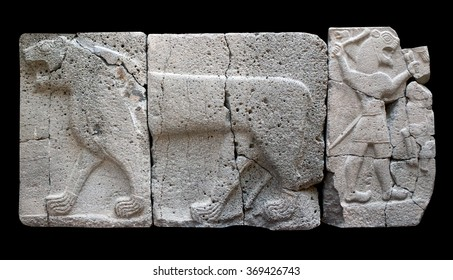 Ancient stone bas-relief with Lion (Aslan) of late Hittite period in the Istanbul Archaeology Museum in Istanbul, Turkey
