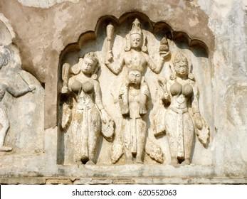 Ancient stone carving of Hayagriva Madhava Temple, Hajo, North Guwahati, Assam, India