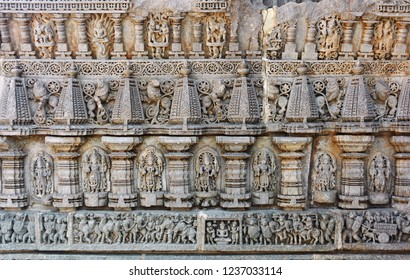 Ancient stone carving of mythological gods in Keshava or Somnathpur Temple,Mysore,India.