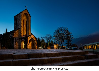 ancient stone church of sapa with blue night sky most popular traveling destination in sapa norhtern of vietnam