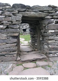 ancient stone doorway, Dunbeg Fort, Ireland