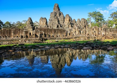 ancient stone faces of Bayon temple, World Heritage of Angkor, Cambodia