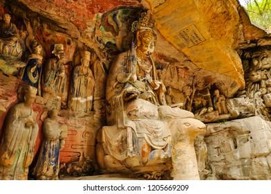 Ancient Stone Hillside Carving of Mahamayuri (female Wisdom King) - Baodingshan, Dazu, China
