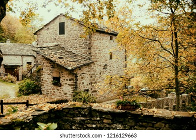 An ancient stone house during autumn in central Italy Apennines