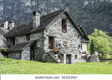 Ancient stone house in the Swiss Alps