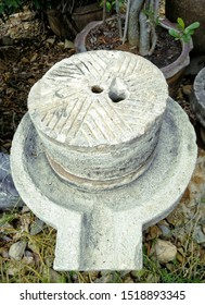 Ancient Stone Mill Closeup  Made from stone  Decorated in the garden
