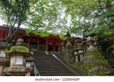 Ancient stone monolithic lamp at Kasuka Shrine in Nara, Japan.